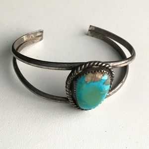 Turquoise Sterling Silver Bangle Cuff Bracelet